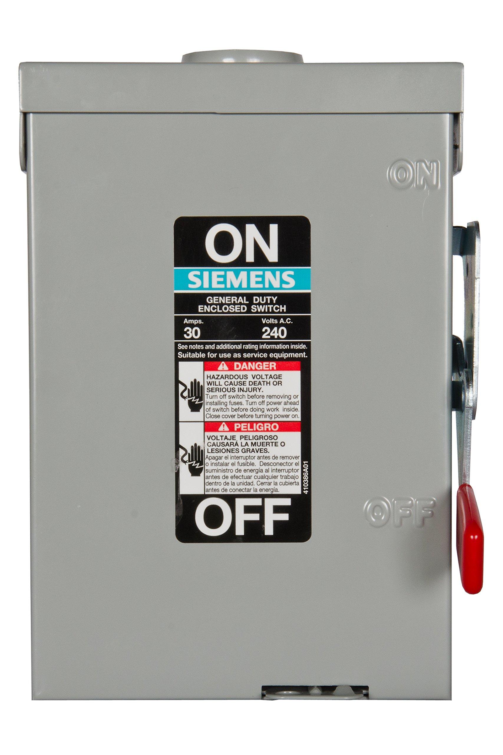 Siemens GF221NR 30-Amp 2 Pole 240-volt Fused W/N Type 3R General Duty Safety Switches