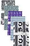 TRANPARAN 手ぬぐい ぬの千代 文生地 日本製 5柄セット (かまわぬ・ぼかし豆青・寿づくし・青海波よこ柄・飛び鶴)