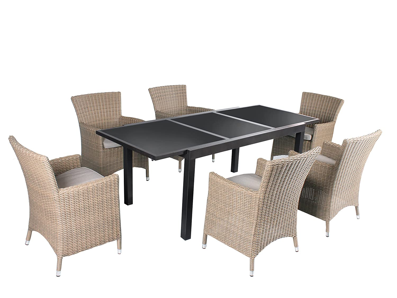 7tlg. Sitzgruppe Acerra Aluminium Ausziehtisch ca. 150/210 x 90 cm anthrazit, Polyrattan Sessel beige