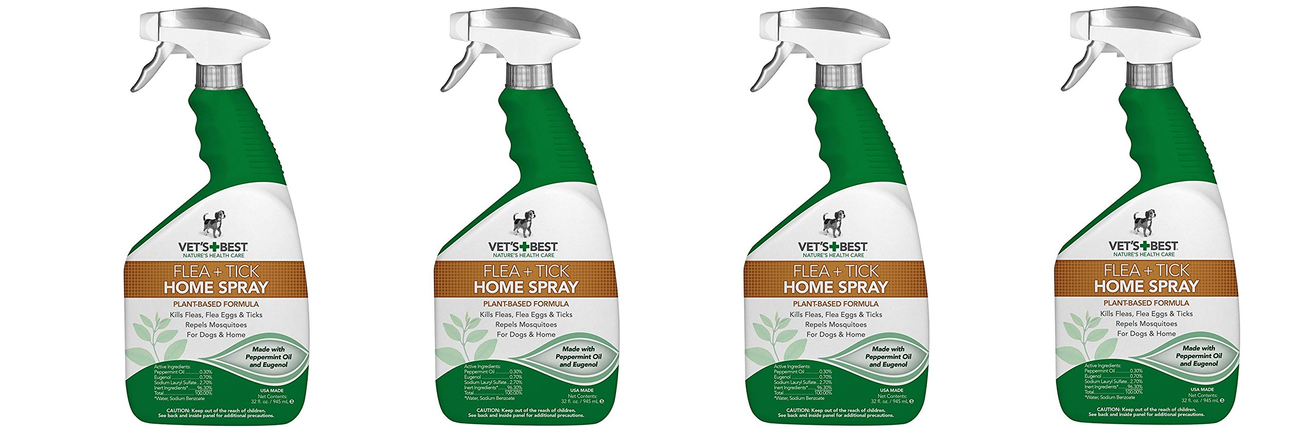 Vets Best fEcnwF Natural Flea and Tick Home Spray, USA Made, 32 oz (4 Pack) by Vet's Best