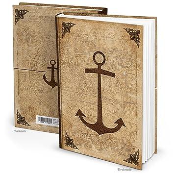 Leeres Blanko Notizbuch Tagebuch Antik Auf Alt Gemacht Anker Vintage