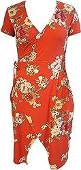 ef00fde4 Stella Tweed Womens Short Sleeve Orange V-Neck Floral High Low Midi Wrap  Dress