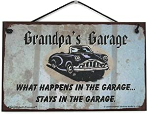"5x8 Vintage Style Sign with Classic Car Saying ""Grandpa's Garage WHAT HAPPENS IN THE GARAGE... STAYS IN THE GARAGE."" Decorative Fun Universal Household Family Signs for your Grandfather"