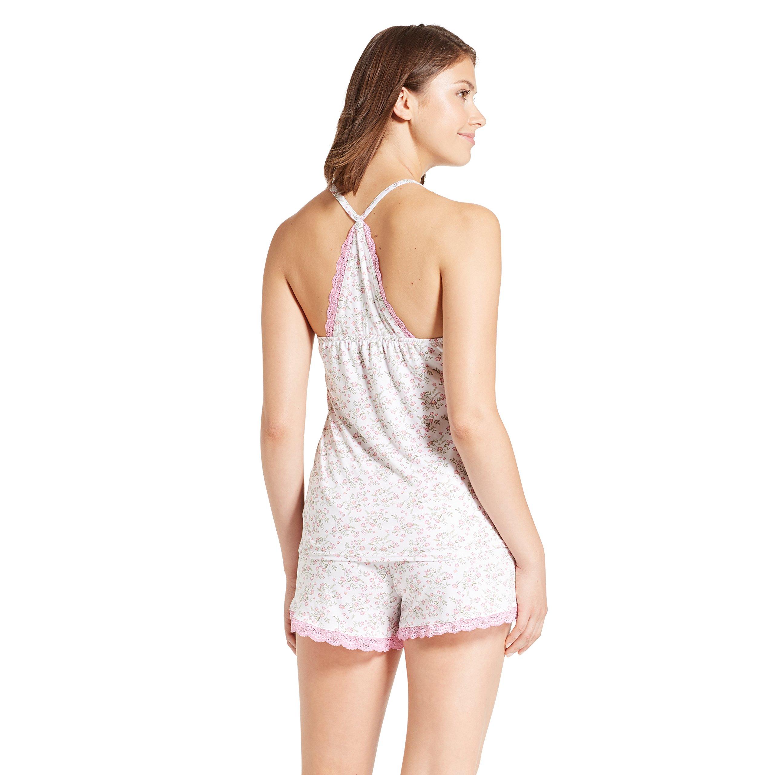 Nanette Nanette Lepore Womens Racerback Shirt Elastic Waist Shorts Pajama Set Spring White Large by Nanette Lepore (Image #2)