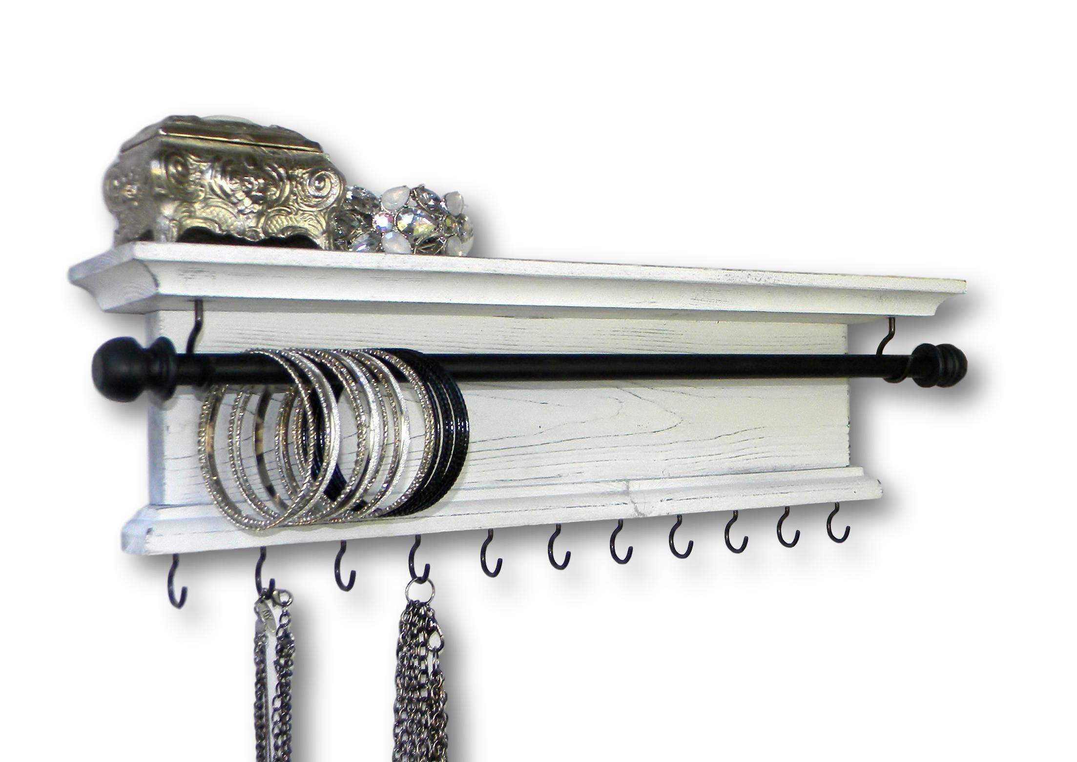 Modern Rustic Wood Bracelet Bangle Necklace Jewelry Holder 18'' Wall Mounted Wall Shelf (Distressed White)