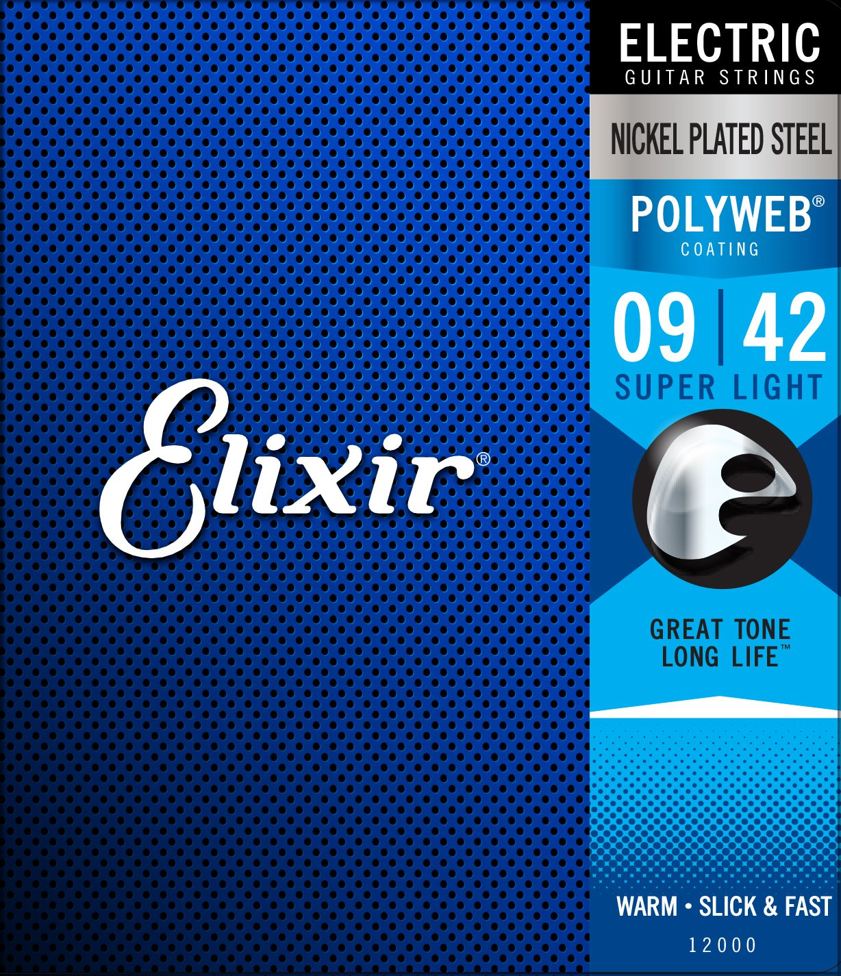 Elixir Strings Electric Guitar Strings w POLYWEB Coating, Super Light (.009-.042)