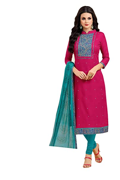 OOMPH! Women's Dress Material (rbmf_madhu_027_Magenta Pink_Free Size) Dress Material at amazon