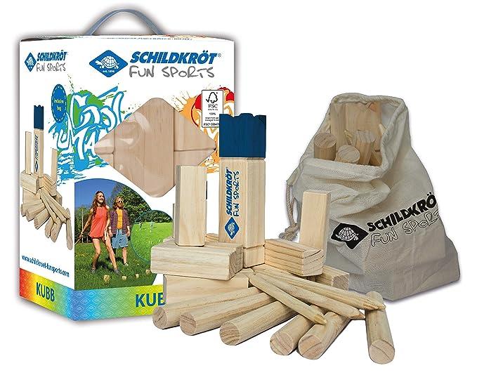Schildkröt Funsports Schwedenschach FSC Eco Holz Kubb XL mit Tasche, 970112