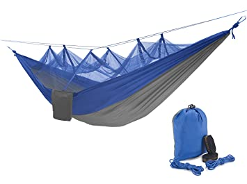 qyuhe portable nylon fabric travel camping hammock with mosquito   8 53 x 4 6 ft  blue amazon    qyuhe portable nylon fabric travel camping hammock      rh   amazon