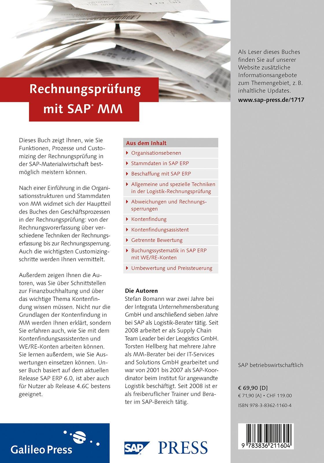 Rechnungsprüfung mit SAP MM: Torsten Hellberg: 9783836211604: Amazon ...