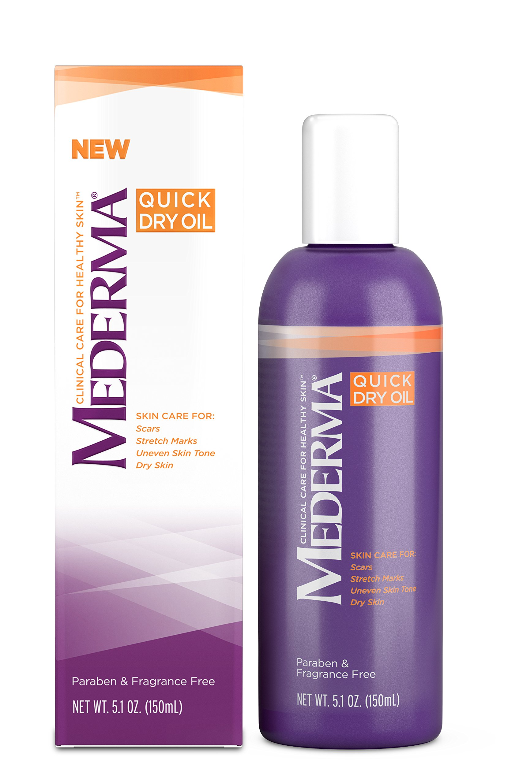 Mederma Quick Dry Oil – formulated to improve the appearance of scars, stretch marks, uneven skin tone and dry skin - #1 scar care brand - fragrance-free, paraben-free - 5.1 ounce