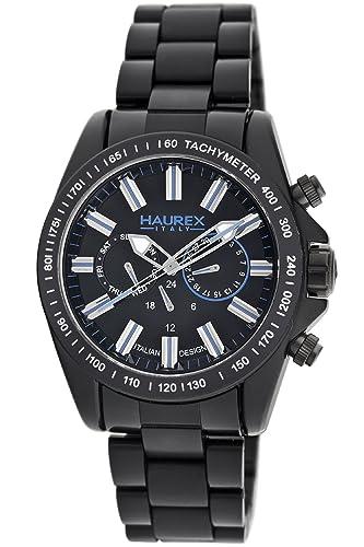 a58a78ac9052 Haurex Italy Aston - Reloj analógico de caballero de cuarzo con correa de  plástico negra  Amazon.es  Relojes