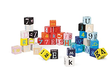 amazon com janod 40 letters and numbers blocks toys games