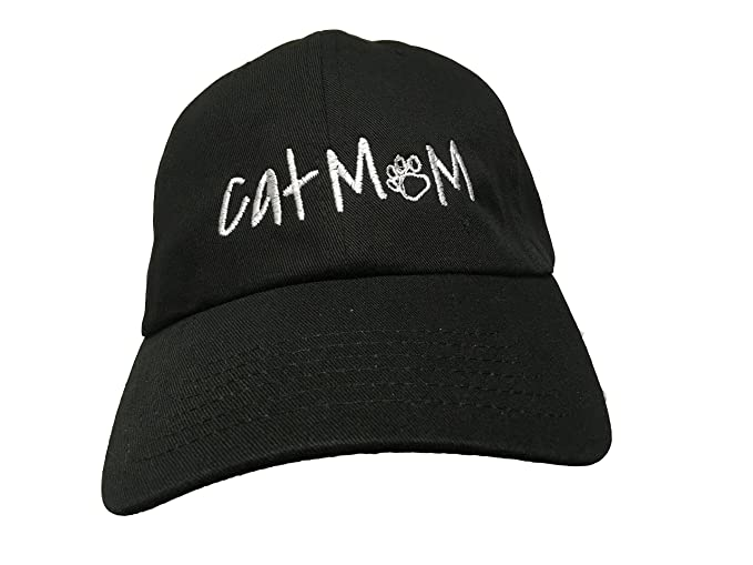 d017b0117e4 Amazon.com  Cat Mom (with paw) - Black Embroidered Ball Cap  Clothing