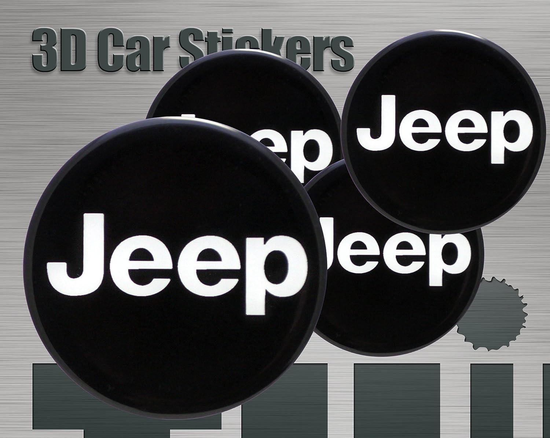 Adesivi 3D Stickers 4 pezzi Logo Jeep Imitazione Tutte le dimensioni Centro Cap Wheel Coprimozzo (56 mm) Think Ink