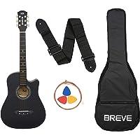 Breve BRE-38C-BK Acoustic Guitar with Bag (Black)