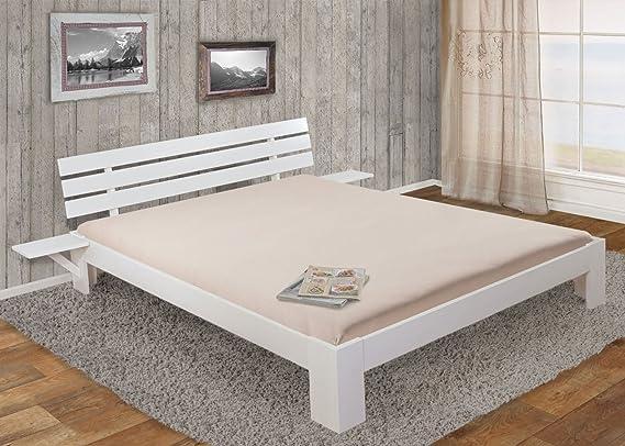 Cama Perth, cama doble, madera maciza incl. SOMIER estante Pino ~ 180 x 200 cm, color blanco lacado: Amazon.es: Juguetes y juegos