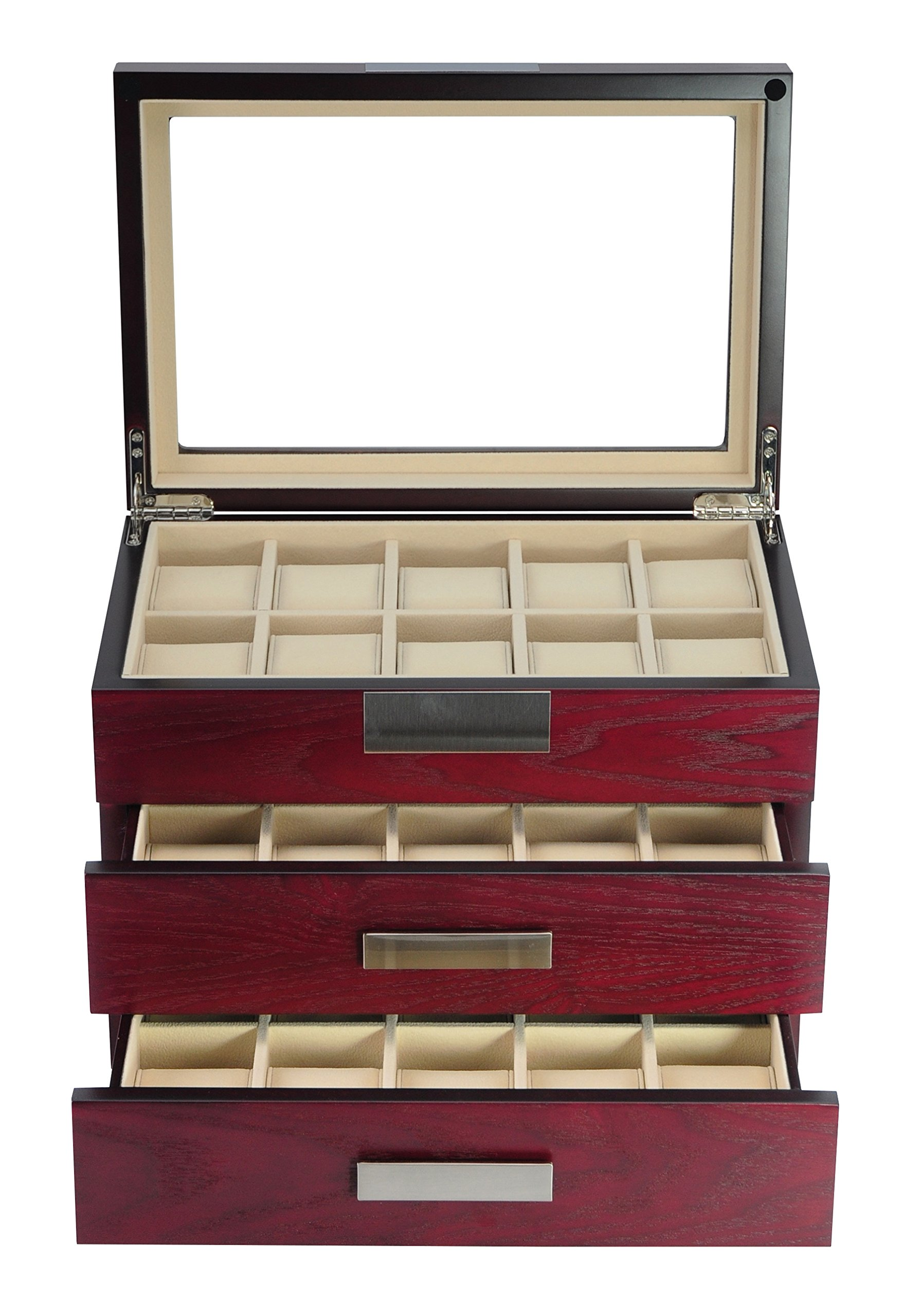 TimelyBuys Luxury 30 Cherry Wood Watch Box Display Case 3 Level Storage Jewelry Organizer with Glass Top, Stainless Steel Accents, 2 Drawers for Closet, Dresser or Vanity by TimelyBuys