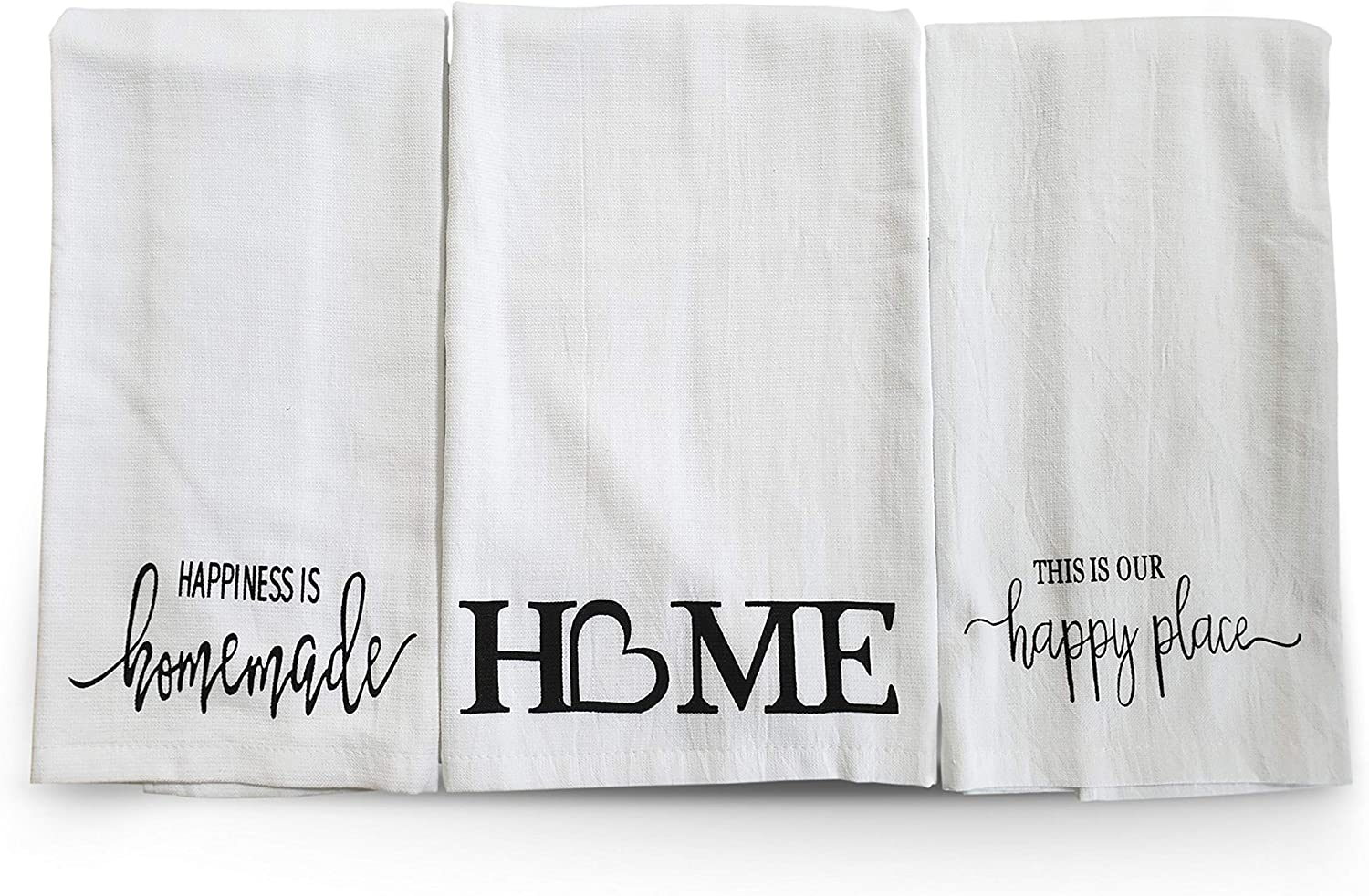 L LIFETIME Cotton Kitchen Hand Towels Set, Soft Highly Absorbent 100% Terry Cloth Tea Towel Simple Funny Design Decorative Durable Large White Bathroom Powder Room Gift 28 X 12 Inches Set of 3 (Home)