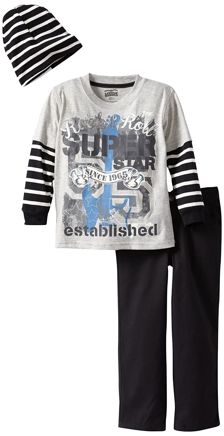 Little Rebels Little Boys 3 Piece Rock And Roll Super Star Pullover With Pant And Hat Little Rebels Boys 2-7 209
