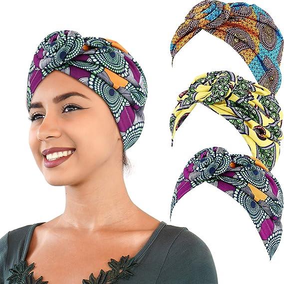 3 Pièces Turban Africain écharpe De Tête Turban Bohème Bonnet Noué élastique Jaune Orange Et Vert Amazon Fr Vêtements Et Accessoires