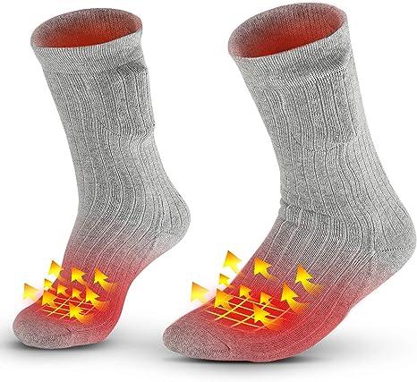 2500Ah calcetines termicos mujer y hombre/invierno con Bater/ías calcetines electricos calefactables recargables Calentar Pies para invierno Deportes Vinmori Calcetines Calefactables