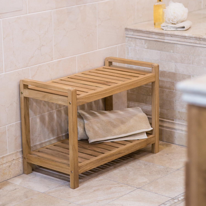 Amazon.com: Belham Living Teak Shower Bench: Home & Kitchen