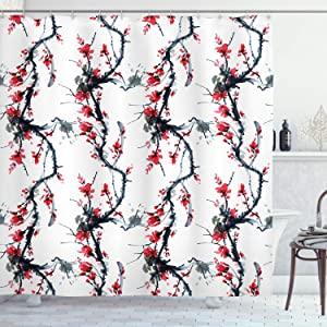 "Ambesonne Asian Shower Curtain, Flowers Season Classic Water Painting Style Artwork Tradition Oriental Summer Print, Cloth Fabric Bathroom Decor Set with Hooks, 75"" Long, Grey Red"