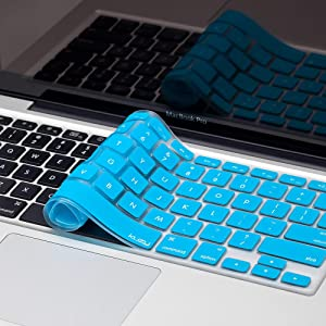 Kuzy - MacBook Keyboard Cover for Older Version MacBook Pro 13, 15, 17 inch and MacBook Air 13 inch, iMac Wireless Keyboard, Apple Computer Accessories Key Board Silicone Skin Protector - Aqua Blue