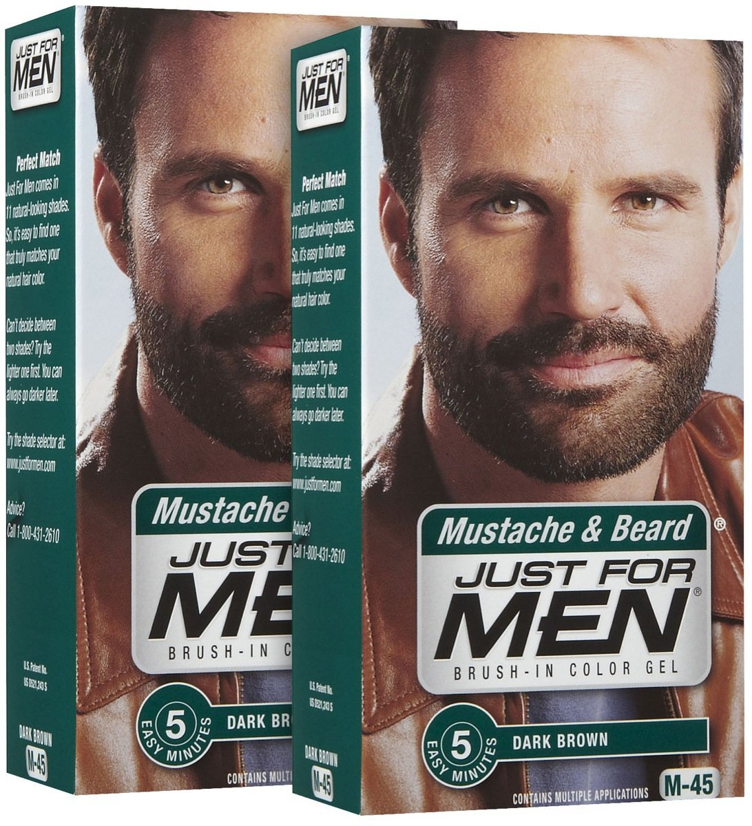 Amazon.com : Just For Men Brush-In Color Mustache & Beard - Dark ...