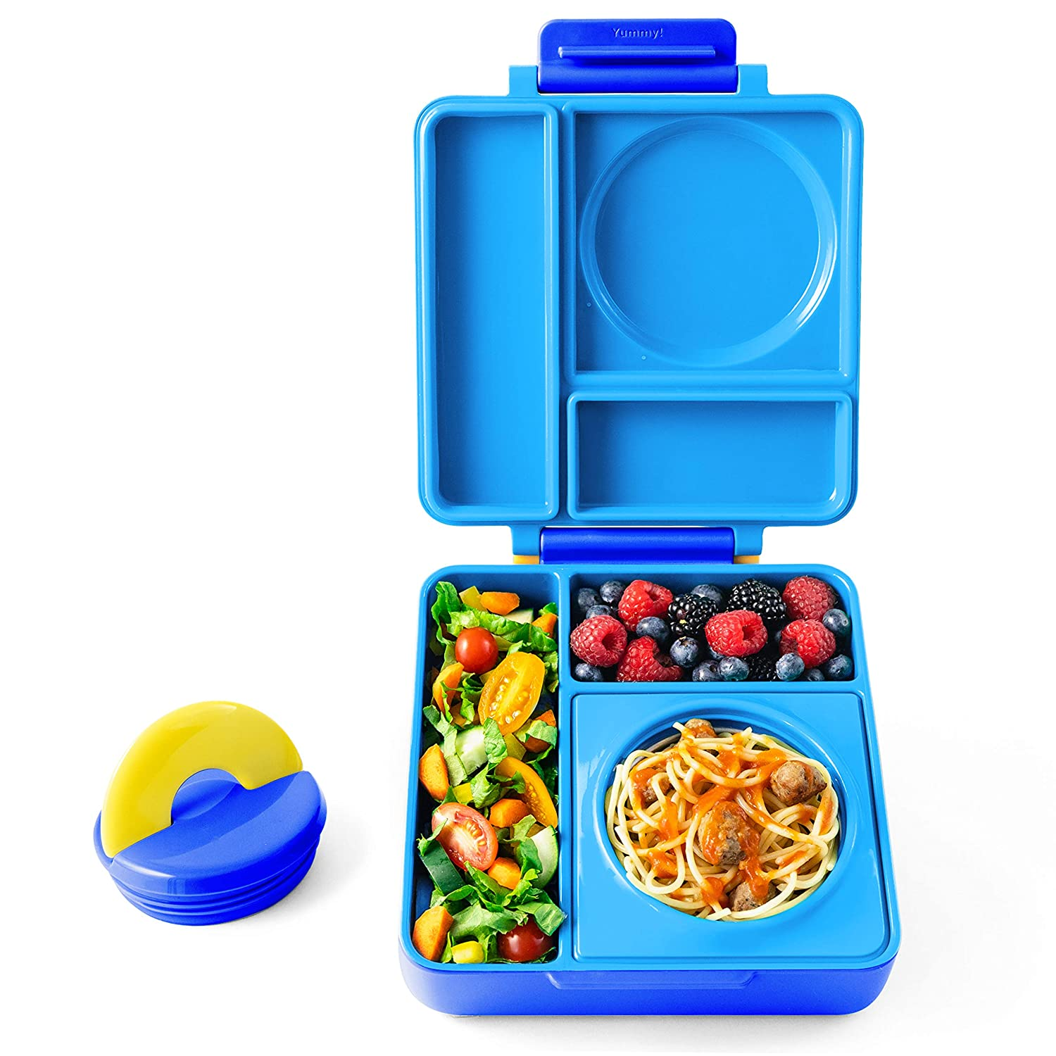 OmieBox - Leak-Proof 3-Compartment Bento Lunch Box For Kids - Includes Insulated Food Thermos - Two Temperature Zones For Hot & Cold Food (Blue Sky)