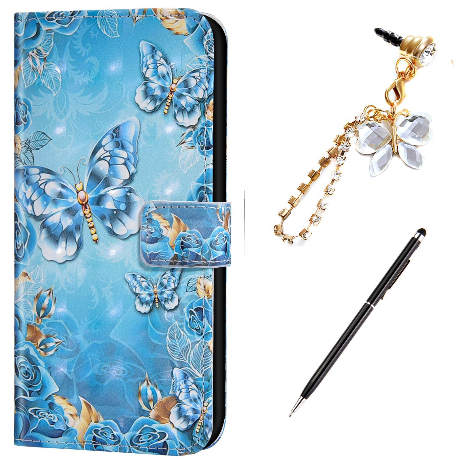 Case for Galaxy Note 10 Cover,3D Colorful Marble Painted Pattern Flip Wallet Case PU Leather Stand Card Slots Protective Case Cover + Dust Plug Stylus for Galaxy Note 10 Wallet Case,Blue Butterfly by ikasus