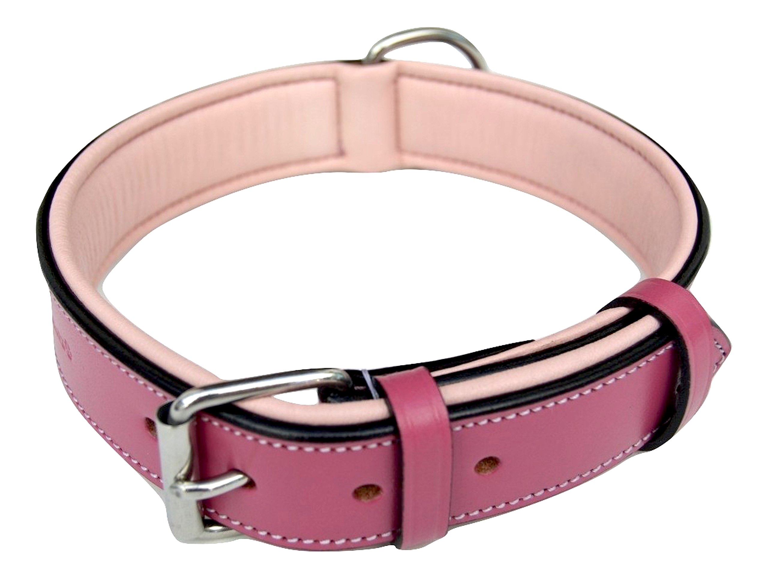 Soft Touch Collars Raspberry Pink Leather Padded Dog Collar, for Large Female Dogs, Made with Genuine Real Leather, 24'' Long x 1.5'' Wide