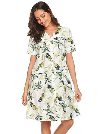 2c77ad491a2 Ekouaer Sleepwear Women s Snap Front Duster Robe Short Sleeve House Dress  Nightgown S-XXL