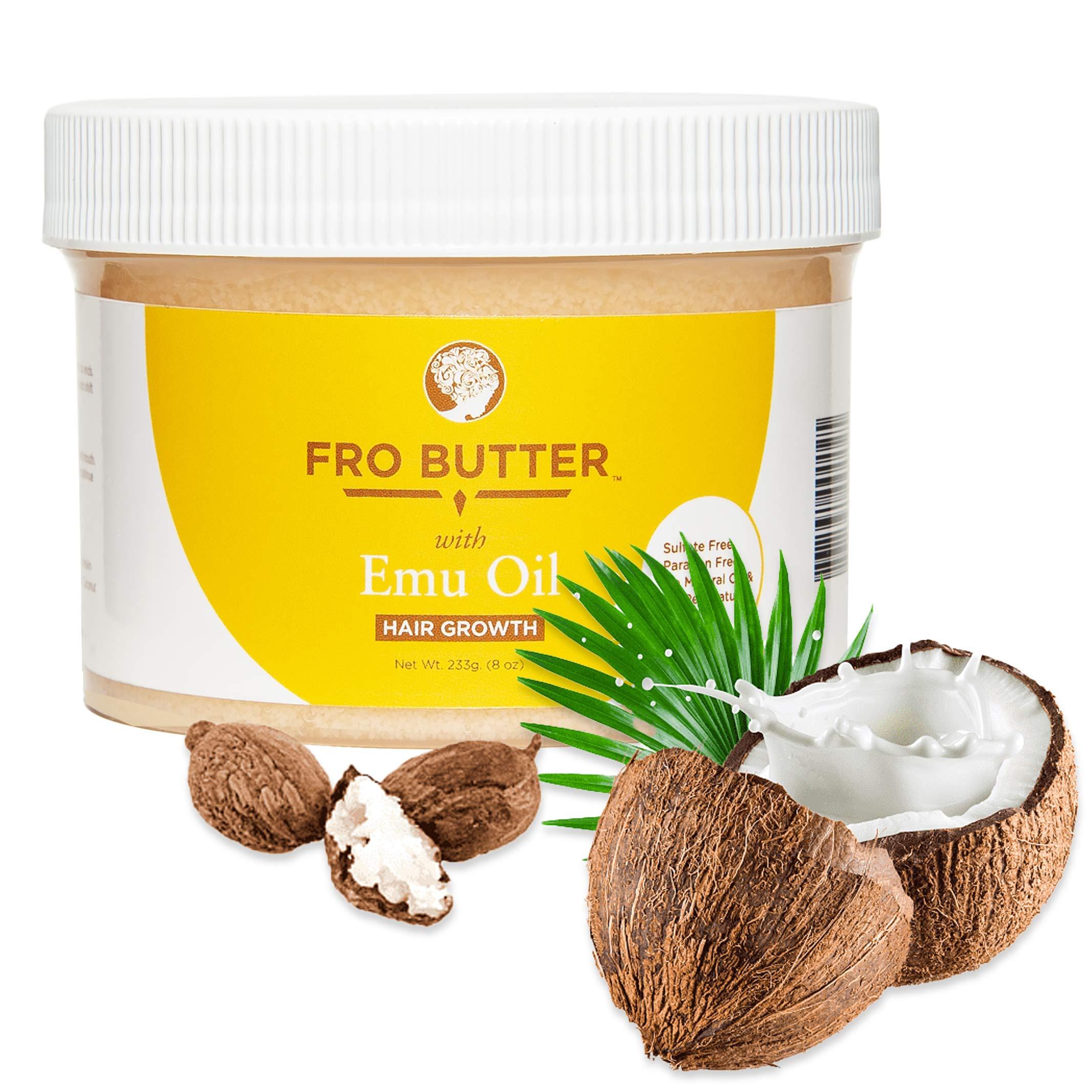 Fro Butter Emu Oil Hair Growth Treatment | Shea Butter, Virgin Coconut & Lavender Oil, Pumpkin Seeds & Nourishing Extracts | For Fast Hair Restoration, Split Ends, Damaged & Brittle Hair, Men & Women