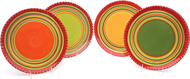 Set of 4 Assorted Designs Certified International Hot Tamale Salad//Dessert Plate