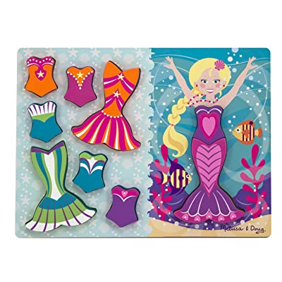 Melissa & Doug Mermaid Dress-Up Wooden Chunky Puzzle (9 pcs)