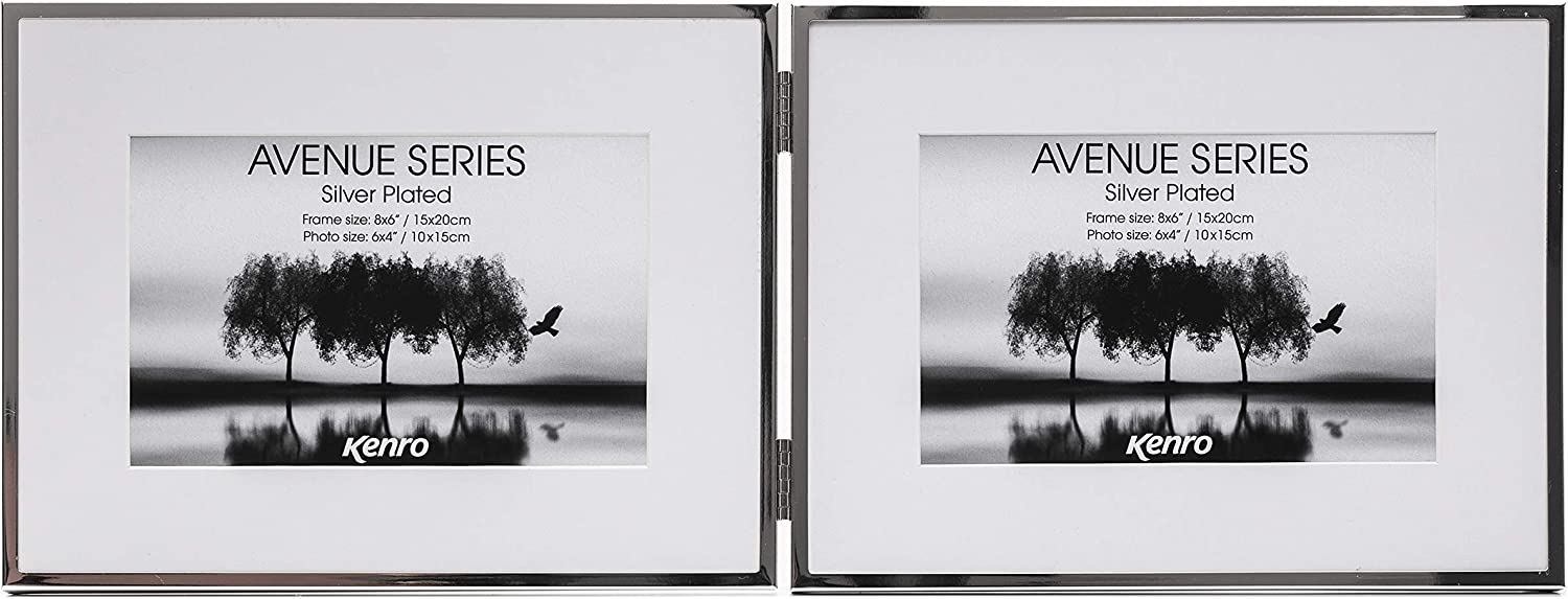 """AVE1318B Kenro Avenue Black Photo Frame 9x7 inch for 7x5/"""" Photo 18x23cm with White Mat"""