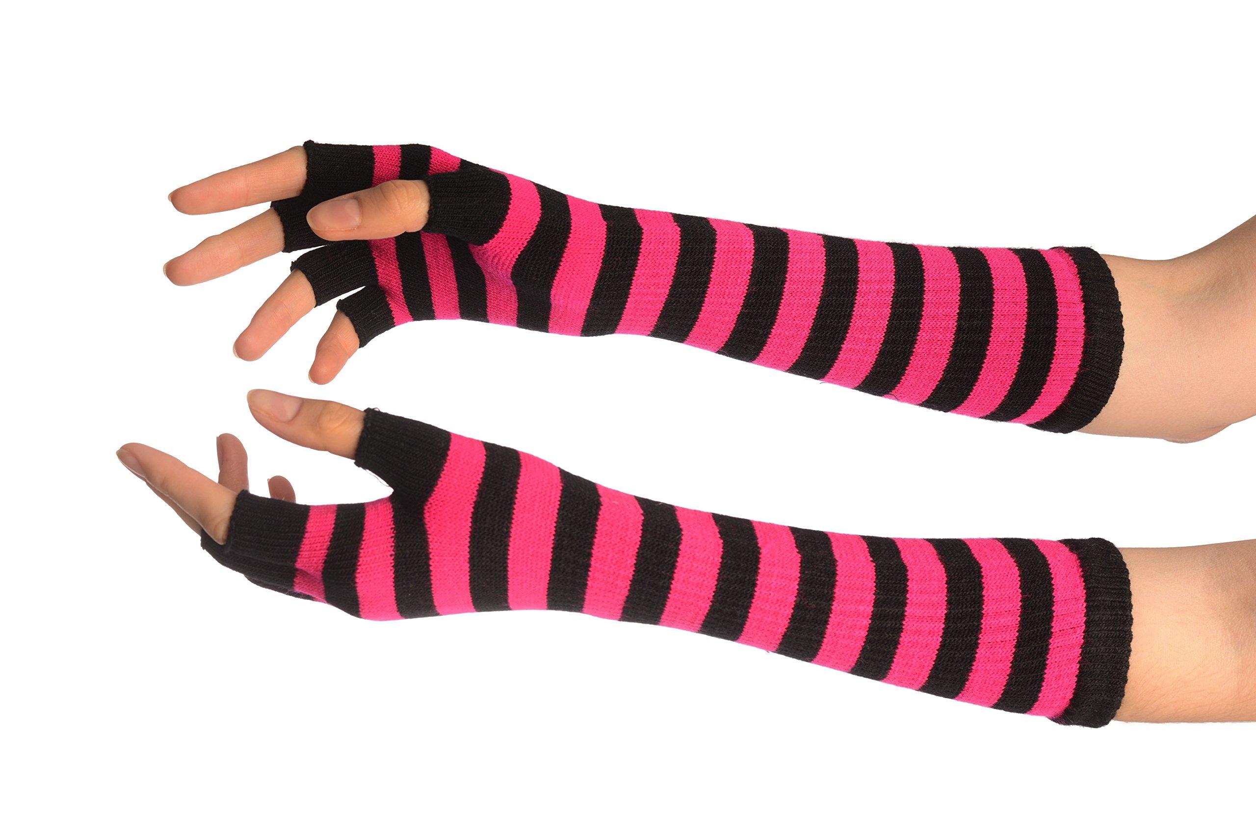 Pink & Black Stripes Fingerless Gloves - Gloves