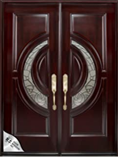 Custom Made Double Exterior Front Entry Double Wooden Glass Door ...