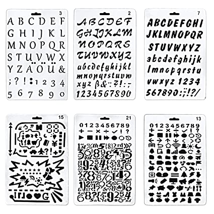 bronagrand set of 6 bullet journal stencil alphabet stencil letter stencil templates for painting and crafts