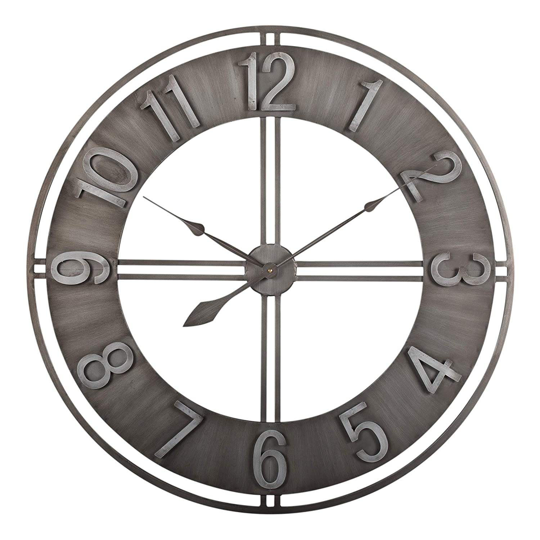 "Studio Designs Home 30"" Industrial LOFT Metal Decor Wall Clock, Brushed"