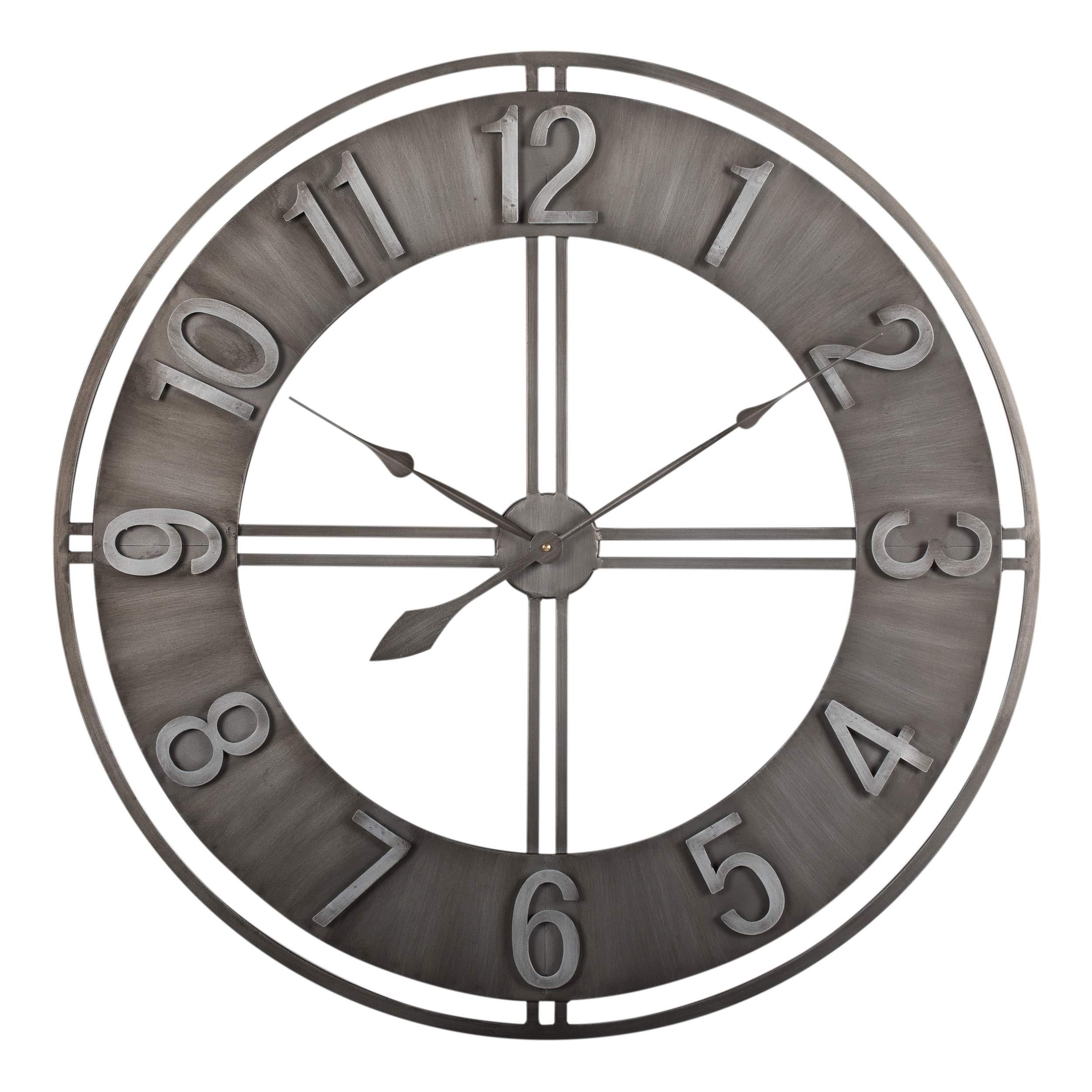 Studio Designs Home 30'' Industrial LOFT Decor Wall Clock, Brushed Metal by Studio Designs Home
