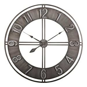 "Studio Designs Home 30"" Industrial LOFT Metal Decor Wall Clock, Brushed"