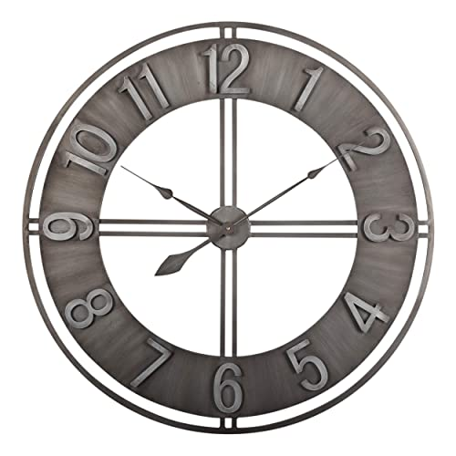 Studio Designs Home 30 Industrial LOFT Decor Wall Clock, Brushed Metal