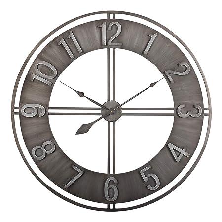 Studio Designs Home 30 Industrial LOFT Metal Decor Wall Clock, Brushed