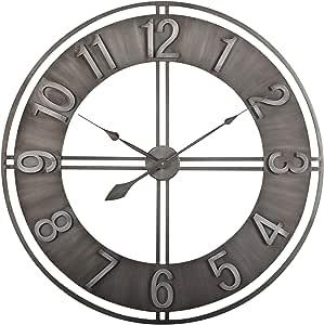 Studio Designs Home 30 Industrial Loft Decor Wall Clock Brushed Metal Home Kitchen