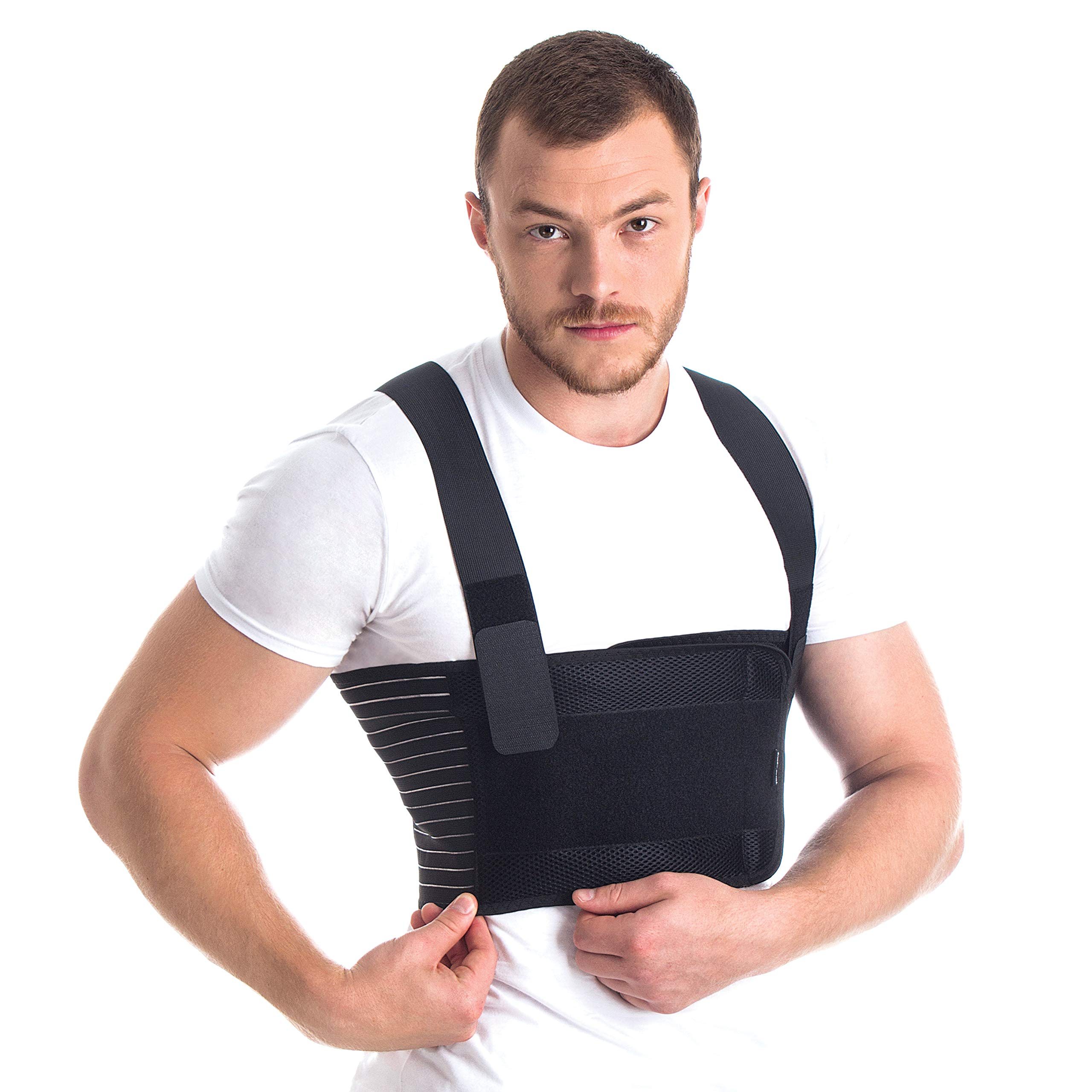 Orthopedic Male Rib Belt/Men's Chest Support - Elastic Breathable Brace Black Small