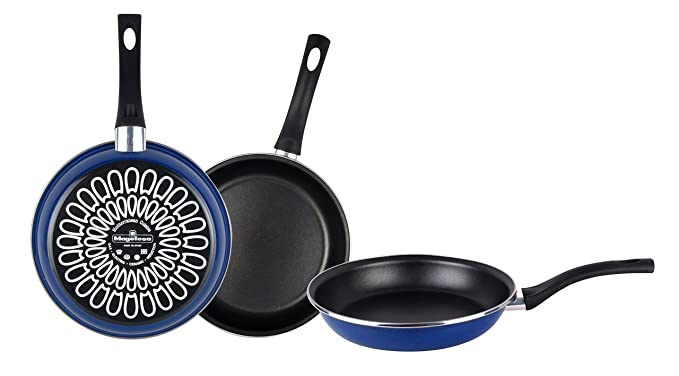 Magefesa Paula Juego Sartenes 18Ø 22Ø 26Ø, Antiadherente bicapa Reforzado, Color Azul Exterior. Apta para Todo Tipo de cocinas, incluida inducción, Acero, ...