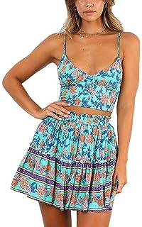 6b672262bd ECOWISH Women s Boho Floral Print Spaghetti Strap Pleated Dresses Skirt Set  2 Piece Outfits